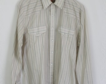 70s Beige Striped Pearl Snap Shirt // Vintage Men's