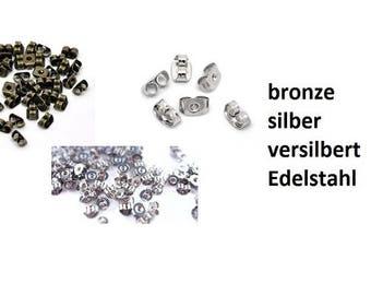Stopper, lock, wing lock, earrings, Stud Earrings, bronze, silver, silver plated, stainless steel