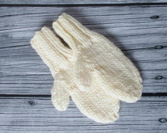 Hand Knit Toddler Mittens, Gender Neutral Ivory Cream Warm Winter Clothing Girl or Boy Kids Size 1 to 2 Years, Preschool Child Birthday Gift