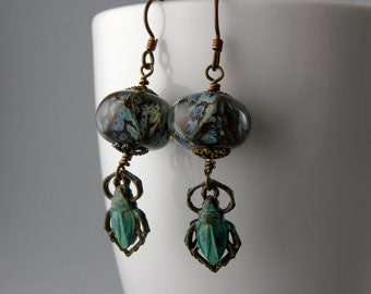 Teal Blue Egyptian Scarab Beetle Earrings with Free USA Shipping