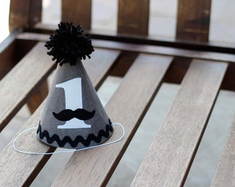 First Birthday Hat Gray White Black Mustache First Birthday Party 1st Birthday Outfit Little Man Mustache Bash