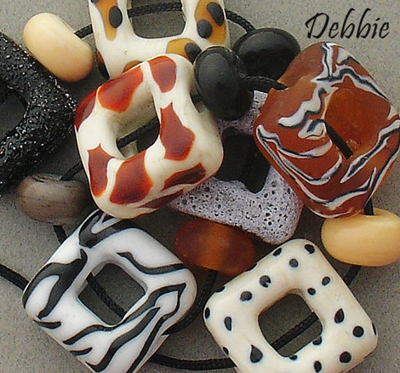 Lampwork Beads African Beads Glass Beads Patterned Statement Necklace Square Beads Animal Print Beads For Jewelry Making Debbie Sanders