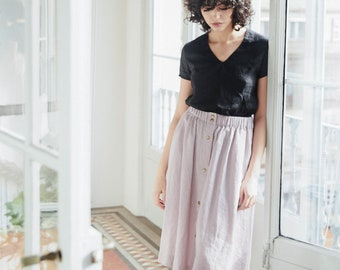 Linen skirt MARSEILLE with front brass snaps / A - line washed linen skirt  / Midi linen skirt available in 34 colors