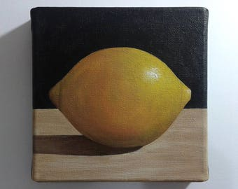 Lemon Painting, Lemon Still Life Painting, 6x6 Inches Canvas, Small Fruit Painting, Summer Painting, Small Kitchen Art Painting