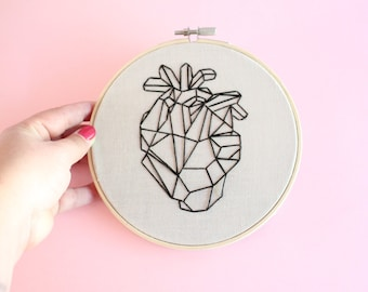 Modern geometric anatomical heart hand embroidered wall hanging, hoop art, needlework, home decor, geo heart, gift for medical students