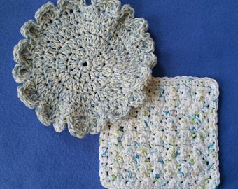 Two White, Blue, and Green Cotton Washcloths Dishcloths, one flower and one bumpy square, handmade crochet washcloth set dishcloth set