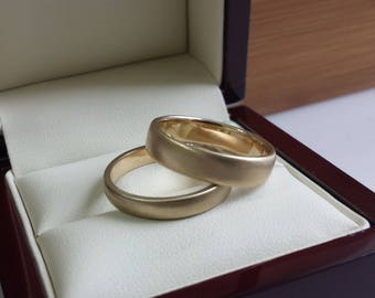 Engravable ladies or mens wedding band , can be personalized, 14kt yellow gold 3mm 3.5mm 4mm 4.5mm 5mm 5.5mm 6mm 7mm 8mm satin brushed ring