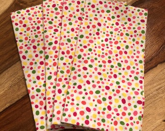 Easter Dot Napkins-Jelly bean napkins- green, pink and yellow-Set of 2 or 4