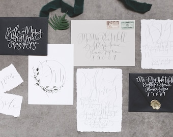 Custom Hand-Painted Wedding Invitation Suite with Hand-Lettered Calligraphy // Modern // Industrial // Neutrals