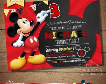 Mickey Birthday Invitation, Mickey Mouse, Mickey Mouse Chalkboard Invitation, Chalkboard Invitation, Clubhouse Invitation, Boys, Blue
