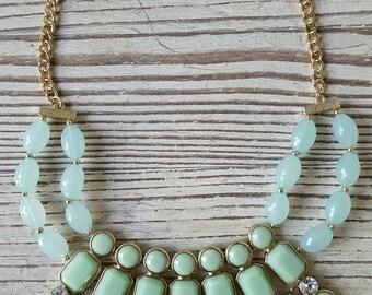 Mint Statement Necklace - Mint Green Necklace - Seafoam Necklace - Bib Necklace