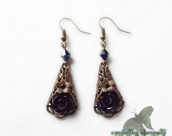 Gypsy Rose -- Gothic Vintage Brass Filigree Earrings with Black Roses Swarovski crystals, dark noir, bohemian, black rose, victorian