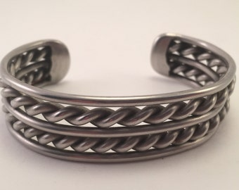 vintage Navajo Heavy Sterling Rope Twist Cuff