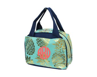 Monogram Gold and Mint Pinapple Lunch Bag Navy Trim