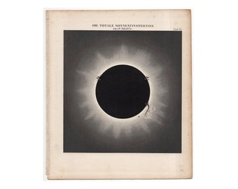 RARE! c. 1865  TOTAL ECLIPSE print - antique astronomy print - total solar eclipse engraving -  eclipse of the sun - solar corona print