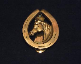 Vintage Brass Horse Door Knocker Horse Head Horse Shoe Brass Door Knocker Vintage Brass Horse and Fox  Door Knocker Equestrian