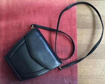 Vintage Navy Leather Handbag, Shoulder Strap, Crossbody