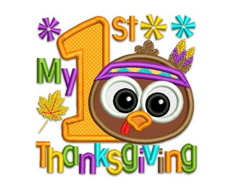 My 1st Thanksgiving Applique Machine Embroidery Design Native TG010