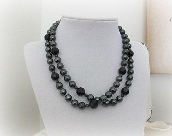 Vintage Glass Bead Necklace Black