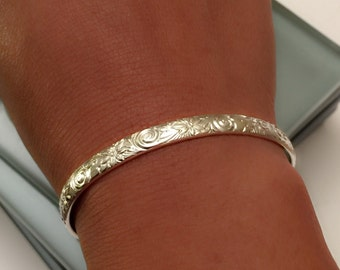 Cuff bracelet, Sterling silver cuff bangle, sterling silver bangle, Sterling silver bangle