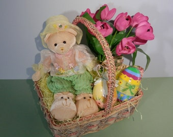5 Pc Easter Child &/or Adult Gift Basket Stuffed Toy Bear Bright Pink Pocket Tulips Decorated Egg Springtime Assortment Display Centerpiece