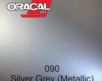 "12"" - Choose Size ORACAL 651 - Silver (Metallic) - Permanent Adhesive Vinyl for Decals, Tumblers, Car Graphics."