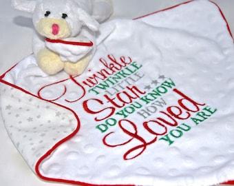 Lambs sweet Baby Comforter / Blanket / Soother Blanket / Baby Gift / Baby Shower Gift / New Baby Gift/ Tags Blanket / Christmas Blanket