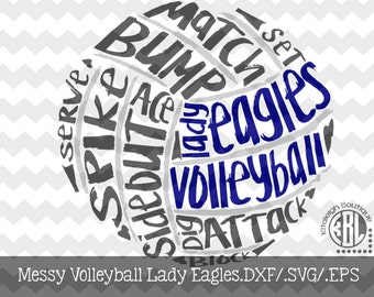 Messy Lady Eagles Volleyball design INSTANT DOWNLOAD in dxf/svg/eps for use with programs such as Silhouette Studio and Cricut Design Space