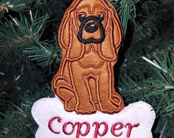 Personalized Bloodhound Dog felt Ornament