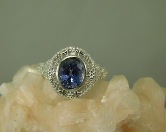 3.08 ct. Oval Blue Sapphire Bezel Set Art Deco Filigree Sterling Silver Ring