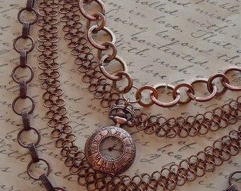 Jewelry, Necklace, Chainmaille, Steampunk Necklace, Pocket Watch Necklace, Locket Necklace, Vintage Style Necklace, Victorian Necklace