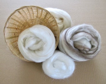 Favorite Spinning Fibers Gift Basket / Wool for Spinning Yarn / Mixed BFL / Alpaca / Merino / Firestar