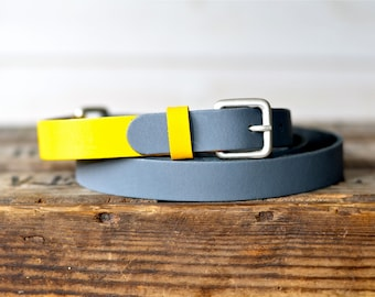 Leather Belt, Grey and Yellow, Gift for her, Mom gift, Gift for him, Women leather belt, Geometric Belt, Nautical Leather Belt