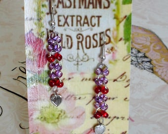 Lilac Glass Beads, Red, Purple, Hearts, Dangle Earrings