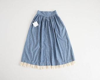 chambray and lace skirt | gunne sax skirt | gunne sax by Jessica Mcclintock