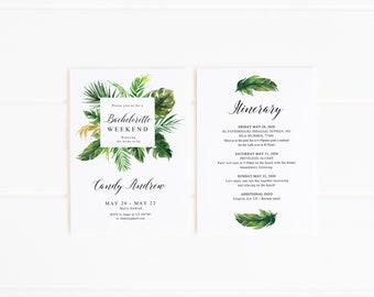 Bachelorette Weekend Template Tropical, Beach Bachelorette Invitation printable, Hawaii Shower, Hens party invitations Editable PDF, AL16