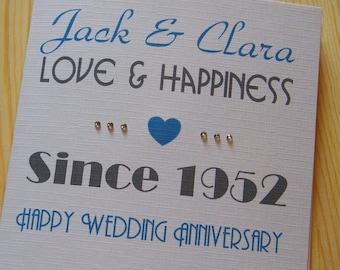 Wedding Anniversary Handmade Personalised Card - Love & Happiness Since