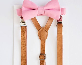 Blush Bow Tie Tan Leather Suspenders, Boys Bow Tie Suspenders, Ring Bearer, Baby boy suspenders, Kids bow tie set, 1st birthday bow tie set
