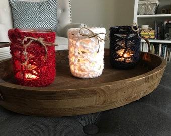 Red white and blue Crochet mason jar lanterns - set of 3