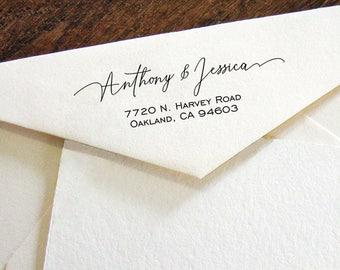 Custom Address Stamp, Self Ink Return Address Stamp, Personalized Address Stamp, Self Ink Custom Address Stamp, Calligraphy Waves