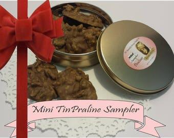 candy, pecan, praline, hand made, handcrafted, gluten free, anniversary, wedding, gift, tin can, birthday