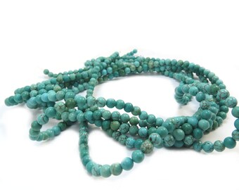 Magnesite Beads, 4mm Round Teal Green Beads, 4mm Green Gemstone Beads, 15 inch Strand, Item 509gsm