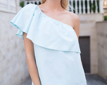 Ladies asymmetrical top with ruffled sleeves