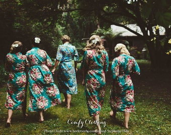 Long Robe, Long Bridesmaid Robe, Long Kimono Robe, Yellow Bridesmaid Robe, Floral Robe, Sun Dress, Asian Clothing, Plus Size Robe
