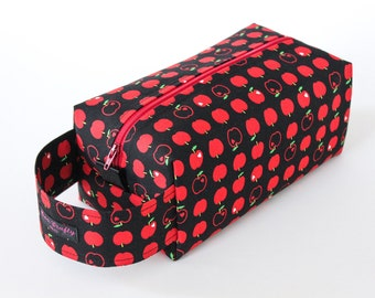 Zippered Knitting Crochet Project Box Bag - Kokka Apples - Red Zip