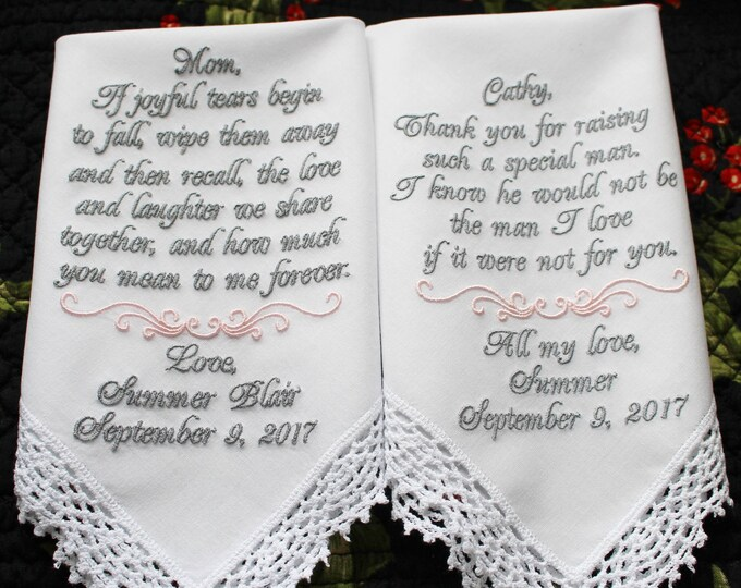 Set of 2 Personalized Wedding Handkerchiefs, Mother of Bride Gift from bride, Mother of Groom Gift From Bride, Custom Wedding Hankie, hankys