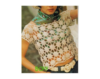 Women's Crochet Top Motif Top Crochet Pattern Instant Download on BC Funk Factory