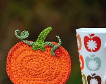 Crochet pumpkin coaster - pattern DIY