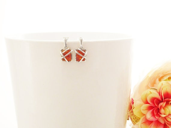 Genuine Amber Earrings, Sterling Silver, Square Form Earrings, Amber Gemstone Inclusions, Modern Filigree Design, Woman Gift, Mother's Day