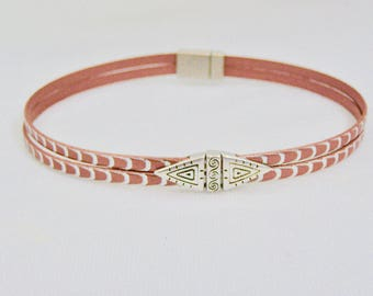 Rust and Silver Women's Leather Choker,Mary Ellen Designs,Gifts For Her,Accessory,Non Metal Magnetic Clasp,Jewelry,Women's Jewelry,Necklace